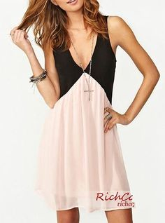 Womens Peach Dress - Two Tone Mini Dress