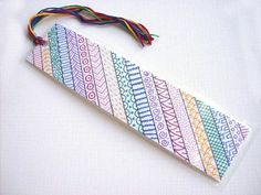 Items similar to OOAK rainbow zentangle bookmark, original art bookmark, zen doodle, one of a kind book mark on Etsy Creative Bookmarks, Paper Bookmarks, Watercolor Bookmarks, Zen Doodle, Doodle Art, Mandala Design, Mandala Art, Diy Marque Page, Bookmark Craft