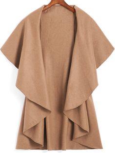 Khaki Lapel Dip Hem Loose Coat 15.11