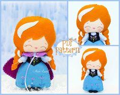 PDF. Anna. Plush Doll Pattern, Softie Pattern, Soft felt Toy Pattern