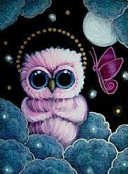 Art: HOLIDAY PINK ANGEL OWL & BUTTERFLY... 1ST SNOW by Artist Cyra R. Cancel