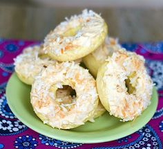 Coconut Doughnuts with Salted Caramel Icing