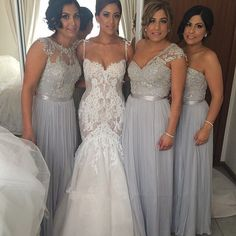 Popular Women Mismatched Lace Top Grey Chiffon Formal Floor Length Cheap Bridesmaid Dresses, The long bridesmaid dresses are fully lined, 4 bones in the bodice, chest pad in the bust, lace up ba Grey Bridesmaid Gowns, Mismatched Bridesmaid Dresses, Lace Bridesmaid Dresses, Sexy Wedding Dresses, Bridal Dresses, Prom Dresses, Cheap Dresses, Tulle Wedding, Beach Dresses