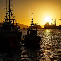 Sunset in port of Bergen, Norway.
