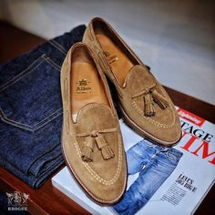 Mens Handmade Shoes Genuine Tan Suede Loafers Slip-On Tassels Formal Casual Boot