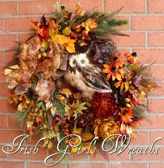 Deluxe Fall Owl Wreath Large Rustic Autumn by IrishGirlsWreaths