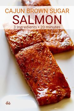 Salmon recipes 357895501634085100 - Cajun Brown Sugar Salmon, sweet and spicy glazed salmon with just three ingredients and ready in 20 minutes, an easy and healthy weeknight dinner. Source by kellywildenhaus Salmon Dishes, Fish Dishes, Baked Salmon Recipes, Seafood Recipes, Dinner Recipes, Vegetarian Recipes, Asian Fish Recipes, Vegetarian Kids, Tilapia Recipes