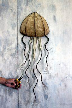 Rustic original handmade jellyfish wall sculpture Handmade paper & wire Wall decor