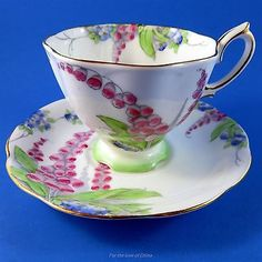 Royal Albert Handpainted Pink Lupins Tea Cup and Saucer Set