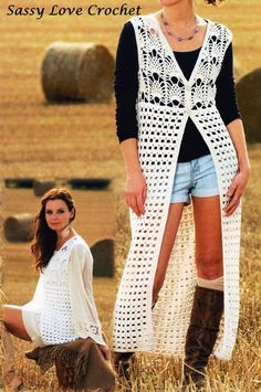 Designer Bohemian Vest Crochet PATTERN, Lace Vest 30-44 inch chest Pineapple…