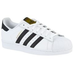 Adidas Superstar Original Sneaker ($98) ❤ liked on Polyvore featuring shoes, sneakers, adidas, sapatos, striped shoes, sports trainer, striped sneakers, adidas shoes and perforated shoes