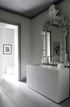 ~Los Angeles, interior designer Vance Burke. Sorry if the mirror isn't antique...