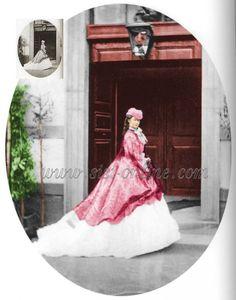 Ingekleurde foto van Elisabeth. De orginele (inzetje) is gemaakt op het binnenhof van atelier J. Albert in München in 1865.