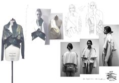 Fashion Sketchbook - jacket development with drawings & experimental draping; fashion design portfolio // Laura Helen Searle