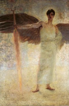 Franz von Stuck, Angel with the Flaming Sword  (February 23, 1863 – August 30, 1928), born Franz Stuck and ennobled in 1906, was a German symbolist/Art Nouveau painter, sculptor, engraver, and architect.  Stuck's subject matter was primarily from mythology, inspired by the work of Arnold Böcklin. Large forms dominate most of his paintings and indicate his proclivities for sculpture. His seductive female nudes are a prime example of popular Symbolist content.