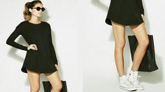 Vestidos Con Tenis |Converse |Outfits 2016 Outfits 2016, Outfits With Converse, Shirt Dress, My Style, Womens Fashion, Shirts, Black, Dresses, Black Gowns