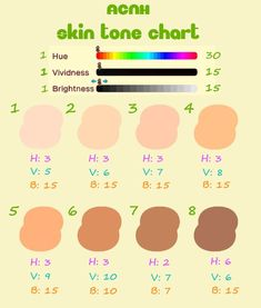 animal crossing clothes pattern Made a Skin Tone Reference Chart for myself to aide in quicker uploads! Animal Crossing Guide, Animal Crossing Qr Codes Clothes, Animal Games, My Animal, Tips And Tricks, Motifs Animal, Island Design, Custom Design, At Least
