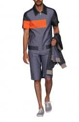 Indian Fashion Designers - Nitin Chawla - Indian Fashion Clothes - Shirts - NC-SS14-TH-SHT-007 - Striking Contrast Paneled Shacket