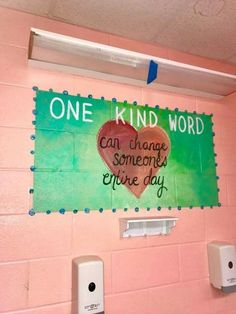 school bathrooms School Hallways, School Murals, School Bulletin Boards, School Classroom, Classroom Decor, Kindness Bulletin Board, Classroom Design, Bathroom Mural, Bathroom Stall