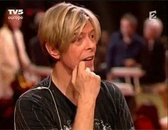 "timemcflys: "" "" David Bowie's reaction when Françoise Hardy tells him that his album Outside is one of her favourites "" """