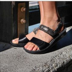 018184fe6d22 Shop Women s Alegria Black Silver size 6 Sandals at a discounted price at  Poshmark.