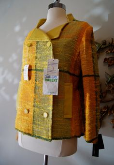 SO GOOD! 60s Jacket // Vintage 1960s Citrus Plaid and Leather Jacket NOS by Samuel Robert. Xtabay Vintage.