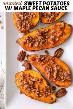 These roasted sweet potatoes with maple pecan sauce are the ultimate sweet and savory side dish! Sweet Potato Pecan, Sweet Potato Casserole, Sweet Potato Recipes, Holiday Side Dishes, Thanksgiving Side Dishes, Thanksgiving Recipes, Orange Beach, Fall Recipes, Holiday Recipes