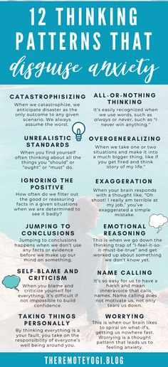 12 Thinking Patterns that Disguise Anxiety - One of the best things I've ever done for my mental health was identifying when my anxiety brain is doing the talking. I want to help you identify the thinking habits that are just your anxiety brain. Anxiety Tips, Anxiety Help, Anxiety Relief, Stress And Anxiety, Stress Relief, Therapy For Anxiety, Things To Help Anxiety, Health Anxiety Symptoms, Writing Tips