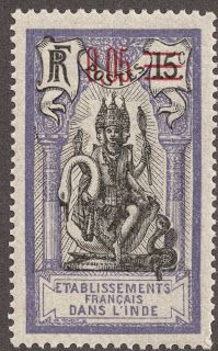 French India 1922 5c on 15c violet & black with red surcharge