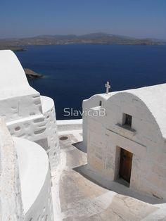 Greek Island Church by the Ocean