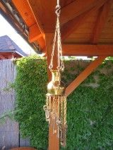 Windchime made from a vintage pot and old keys. Old Keys, Plant Hanger, Wind Chimes, Plants, Vintage, Home Decor, Antique Keys, Decoration Home, Room Decor