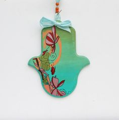 Hamsa  Hand of Fatima  painted butterflyes on palywood by Galleros, $24.90
