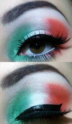 Italian flag makeup. green white red eye makeup with fake eyelashes.