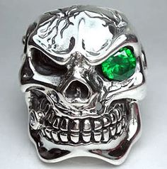 Mens Emerald Skull Rings