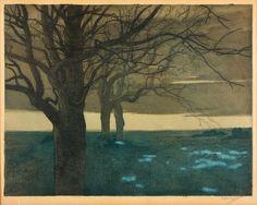 Vojtěch Preissig (Czech, 1873 - 1944)  Afterglow (Červánky), N/D  Color etching, paper, 49 x 63.5 cm
