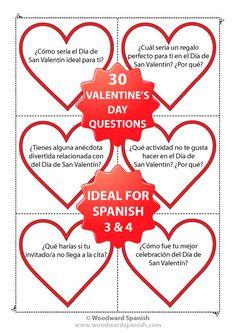 Spanish Conversation Cards with 30 questions about Valentine's Day. (Level: Spanish 3) - Tarjetas de conversación con 30 preguntas acerca del Día de San Valentín (Día de los Enamorados).