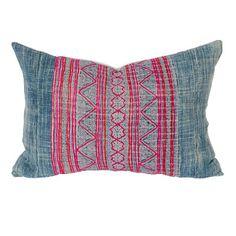 Handloomed Hmong vintage hemp and chambray pillow