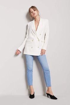 FOREVER 21 Faux Pearl Double-Breasted Blazer