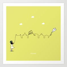 Rome Skyline Kite Art Print by keindesign Buy Frames, Kite, Travel Posters, Printing Process, Gallery Wall, Skyline, Art Prints, Products, Art Impressions