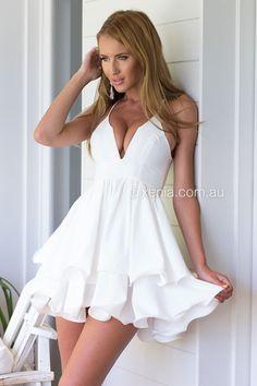 Elixir Frill Dress-Front,White