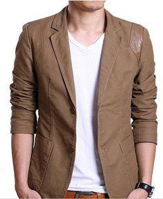 Men's  Designed PU Patchwork Shoulder Cotton Blazer Short Slim Jacket Coat 3Color -Expedited Shipping on Etsy, $49.00