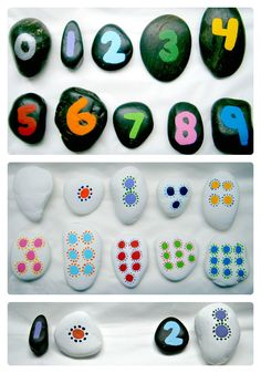 "Recognizing that ""2"" is the same as two dots or two rocks is a form constancy skill, and it's fun with this painted rock activity!"