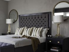 Taylor Howes 9, with Miro lamps in Bright Gold and Trevose mirrors in Burnt Silver by Porta Romana.