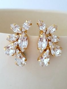 White clear crystal Statement stud earrings by EldorTinaJewelry | http://etsy.me/1CQEuik