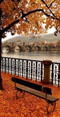 Charles Bridge in Autumn, Prague, Czech Republic