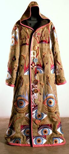 """Grayson Perry RA ~ """"Artist's Robe"""" Embroidered silk brocade, leather, printed linen and ceramic buttons. 179 x 70 cm. Courtesy the Artist and Victoria Miro, London ©Grayson Perry via Royal Academy of Arts Grayson Perry, Textile Fiber Art, Textile Artists, Fashion Identity, Royal Academy Of Arts, Textiles, Printed Linen, Silk Brocade, Embroidered Silk"""