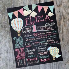 Hot air balloon birthday chalkboard Vintage by MichelleRayeDesigns