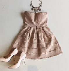 Taupe pleated dress #neutrals