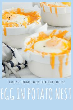 Looking for the next great weekday breakfast idea? Try Eggs in a Potato Nest. Quick And Easy Breakfast, Quick Easy Meals, Cheese Hashbrown Potatoes, Matins, C'est Bon, Breakfast Recipes, Brunch, Cooking, Nest
