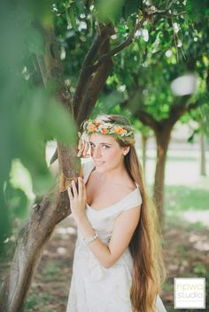 Wedding hairstyle with floral crown